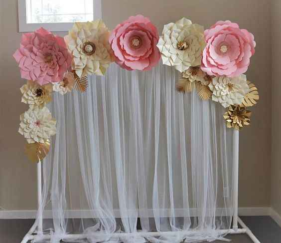 wedding backdrop with pipping, draping and flowers