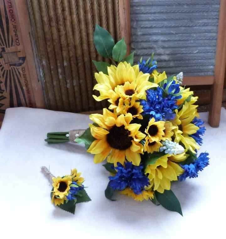 blue cornflower and sunflower bridal bouquet