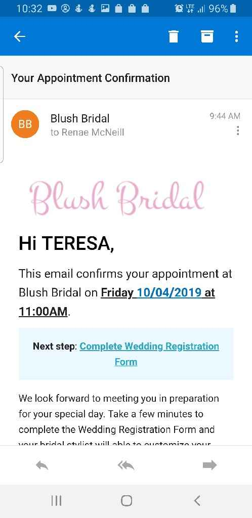 Bridal appt confirmed! - 1