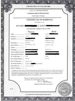 anything special with marriage license?