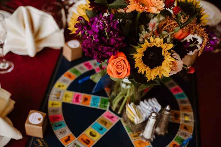 Our centerpieces! Each a different board game!