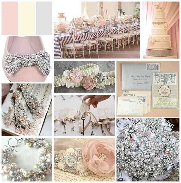 Silver, blush and ivory