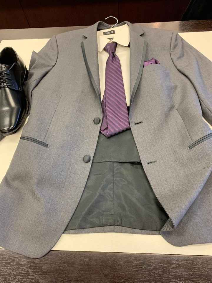 Suits (groomsmen will have no vest, groom will. Ties and pocket square are being swapped out)
