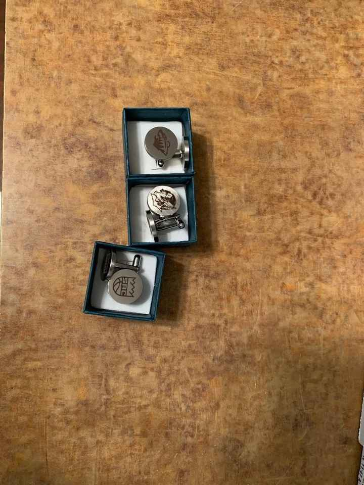 custom cufflinks for groom and groomsmen suits (doubles as their gift)