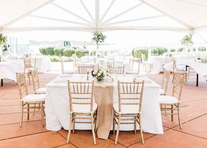 Rent gold chiavari chairs or keep white folding? 4