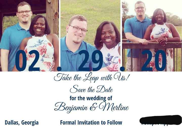 How many pictures did you use on your Save the Dates? - 1
