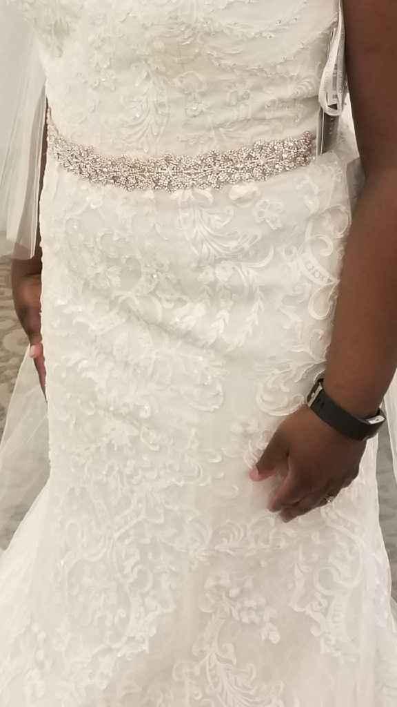 Ivory or White sash on white wedding dress? - 1