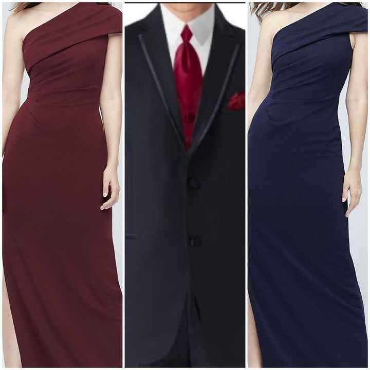 Navy blue bm dresses with what color tux for Gm?? Help! - 1