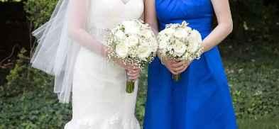 white bouquet, white dress