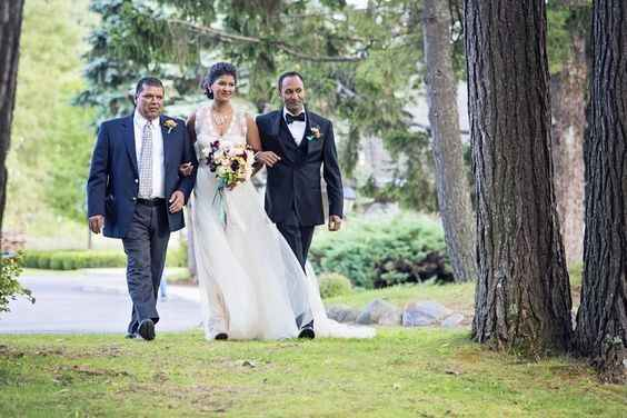 This bride walked with her brother and her uncle