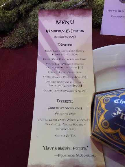 menu with HP quote