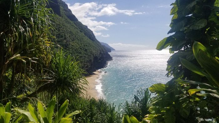 Looking down at Hanakapi'ai beach
