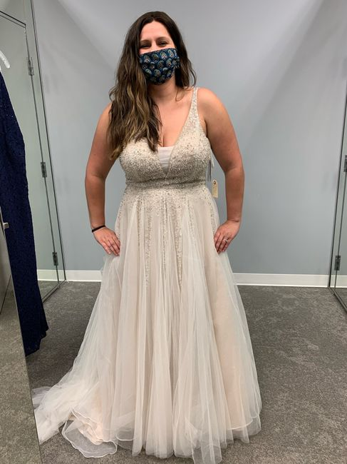 Ivory dress with champagne veil 3