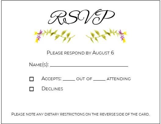 Leaving space on the rsvp card? - 1