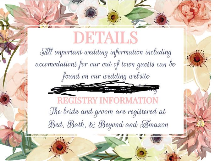 Do You Put Your Registry Information With The Invitation Weddings
