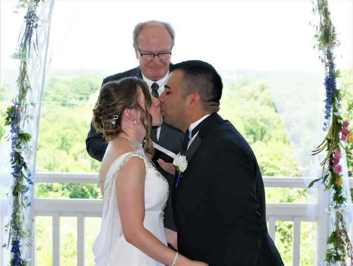 Our first of 3 kisses. I wasn't sure if we got the picture the first time lol