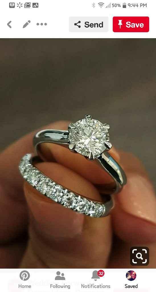 Blingy double wedding band to enhance small diamond - 4