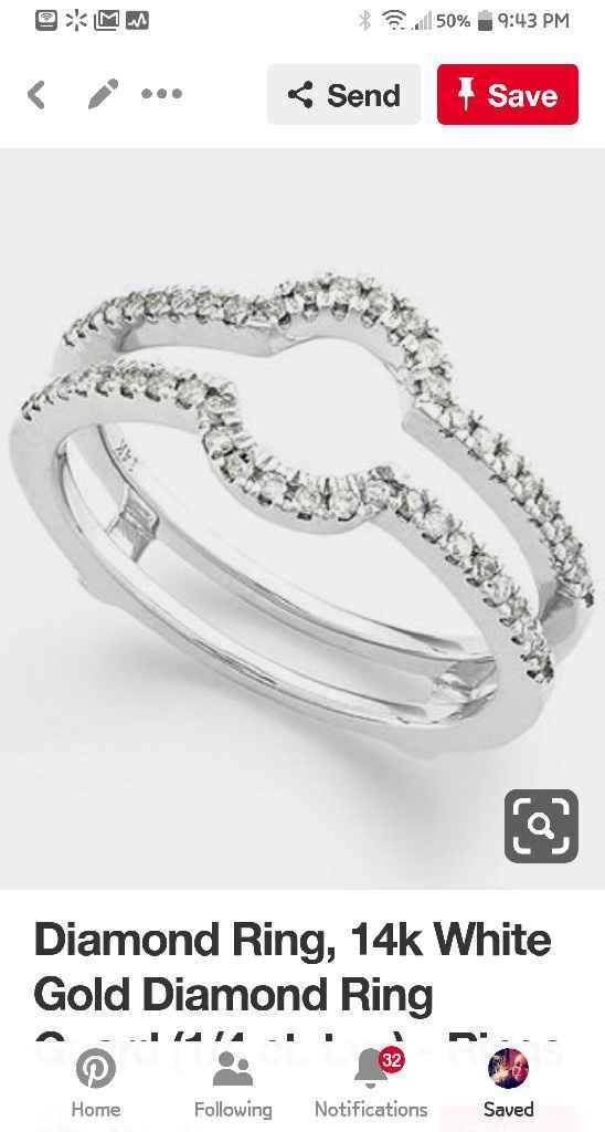 Blingy double wedding band to enhance small diamond - 5