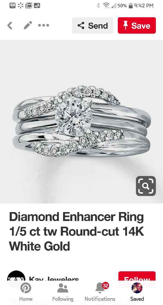 Blingy double wedding band to enhance small diamond - 7