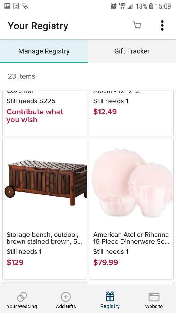 $ instead of registry/gifts - 2