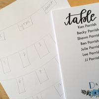 Seating chart cards and plan