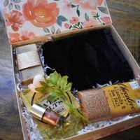 A black velvet robe, fancy bar soap and bath salts, copper nail polish and a chocolate bar