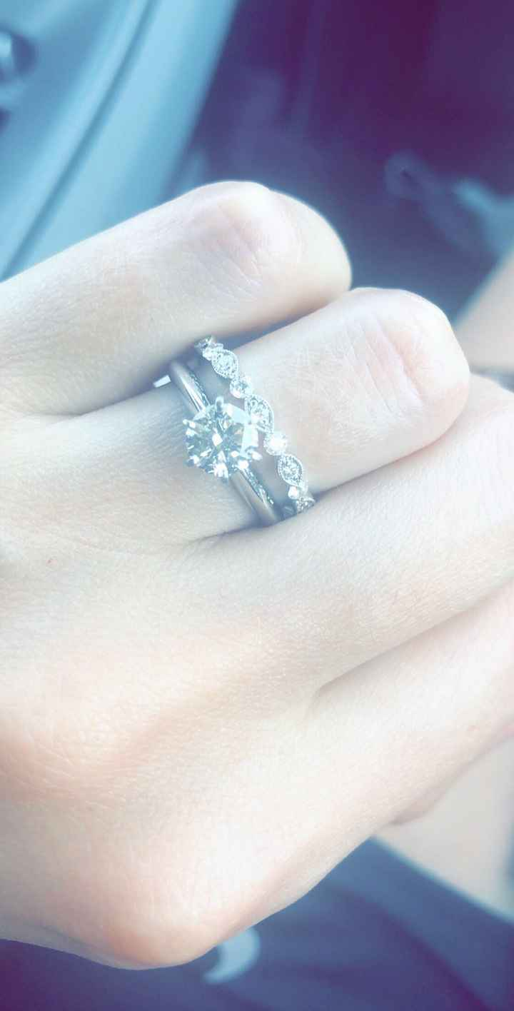 Ladies let see your round engagement rings and wedding bands!!!! - 1