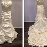 My dress is champagne satin with a bubble hem and I only have one fitting left!!!  Can't wait!