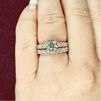 Rings! With a sneek peek of the wedding band with the engagement ring