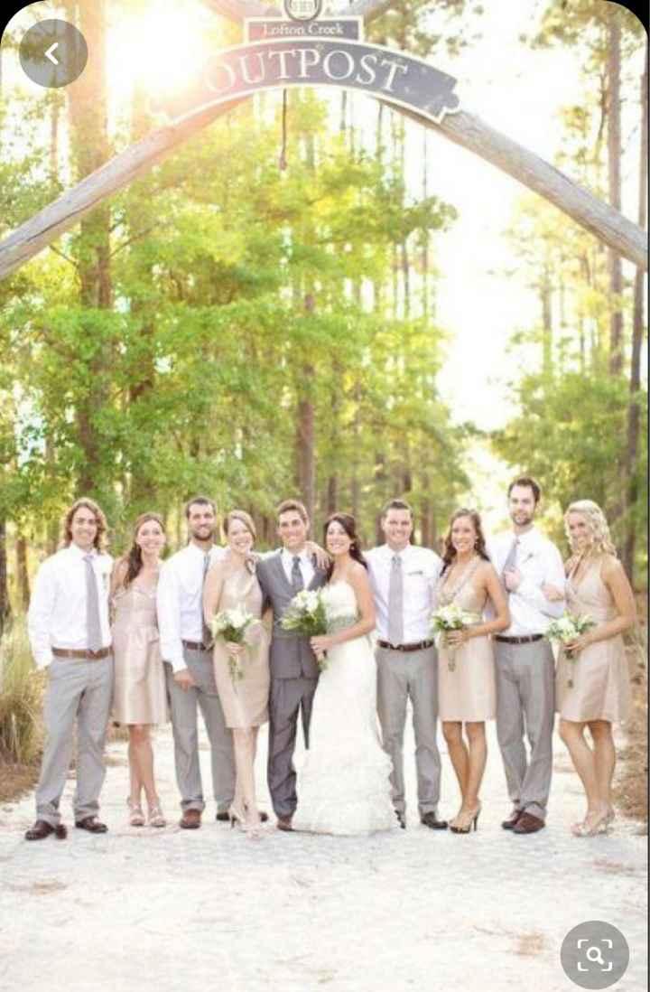 Champagne bridesmaids dresses and gray slacks for groomsmen - 1