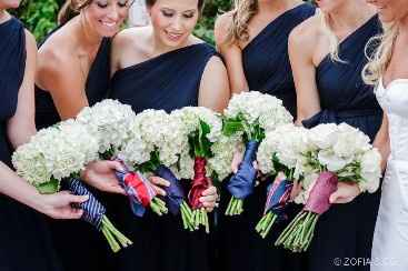 Using his favorite tie/ties as bouquet wraps for you and your girls or just you or just your girls