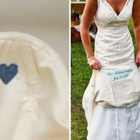sewing a piece of his favorite shirt into your dress AND/OR sewing his name in remembrance.