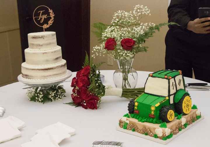 Our wedding cake and groom's cake