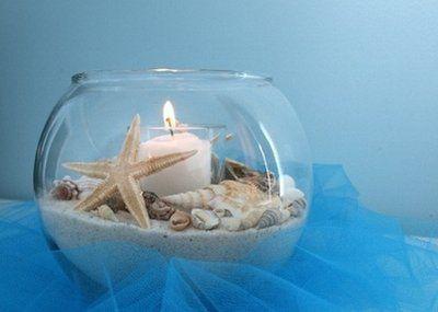 Teal Beach Wedding Centerpieces