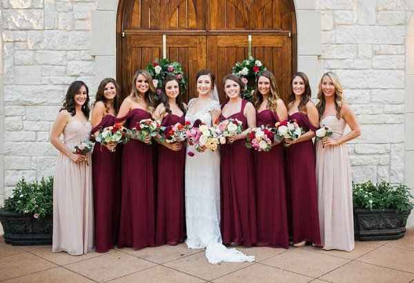 Burgundy and Blush Dresses