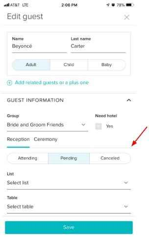 Change Guest RSVP Status - WeddingWire Guest List (iOS App)