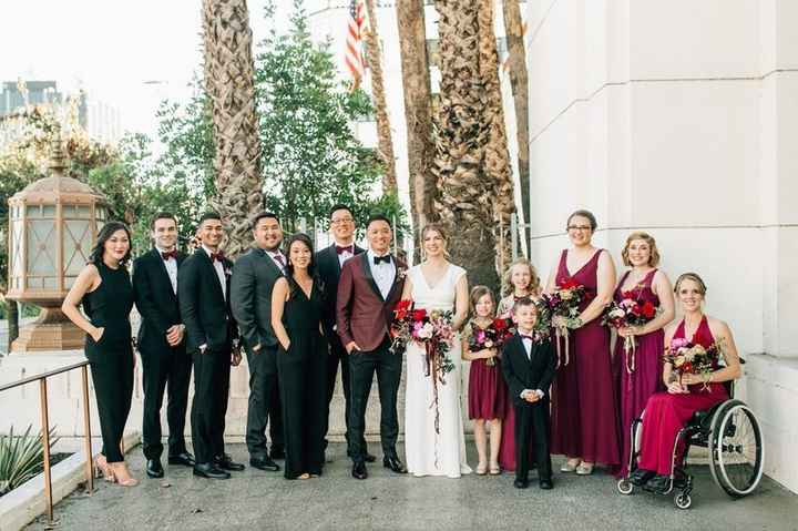 Wedding Party Picture - Bridesmaids in Raspberry Dresses