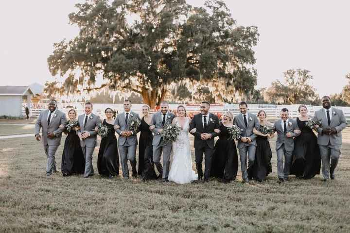 Wedding Party Pictures - Bridesmaids in Long Black Dresses, Groomsmen in Grey Suits with Black Ties