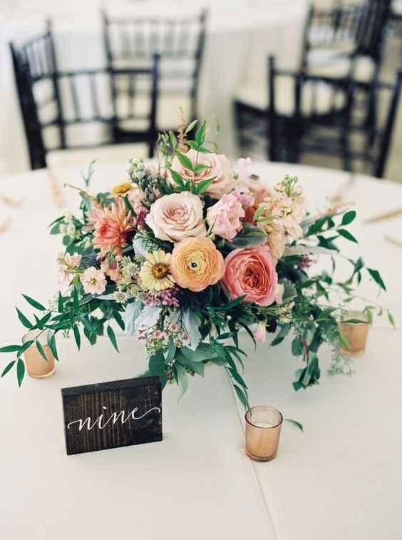 Elegant Rustic Wildflower Centerpiece - Peach, Blush, and Gren