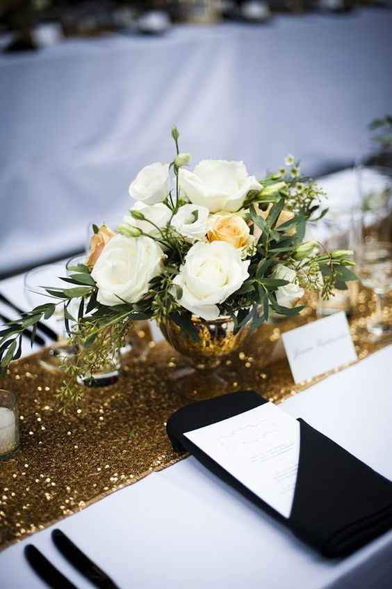 Glam Deco Modern Tablescape - Gold Sequin Runner, Black and White Decor