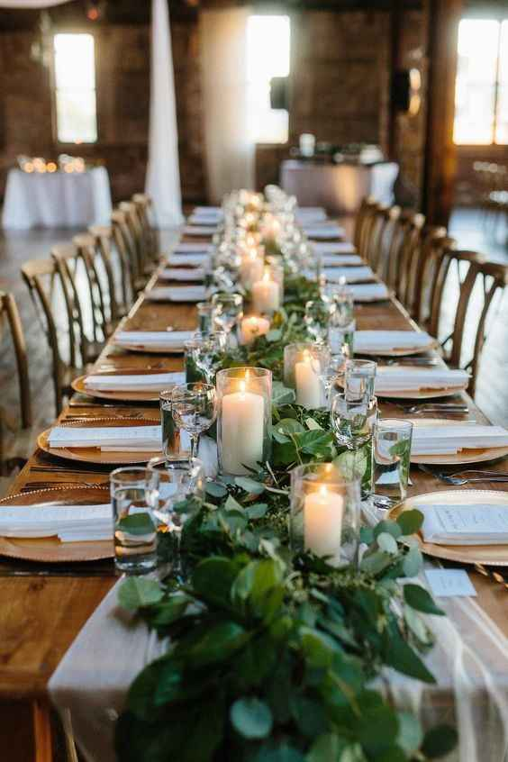 Long Greenery Garland with Candles at Farm Table