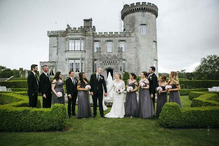 Wedding Party in Front Of Castle