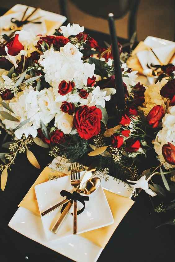 Winter Wedding Tablescape Decor - Black White Gold and Red