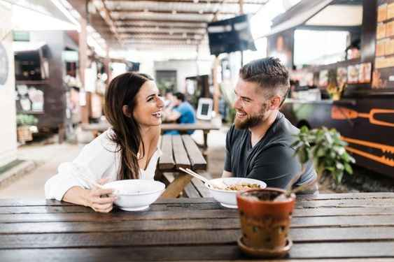 Casual Laughing Date Engagement Picture