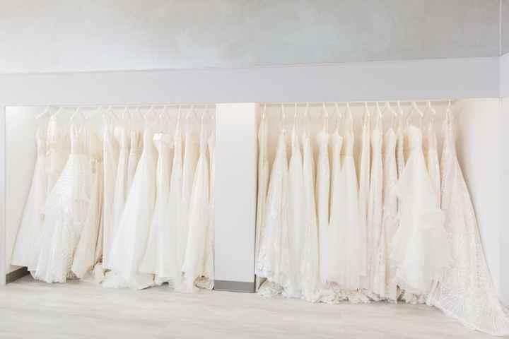 Wedding Dresses on Rack at Store
