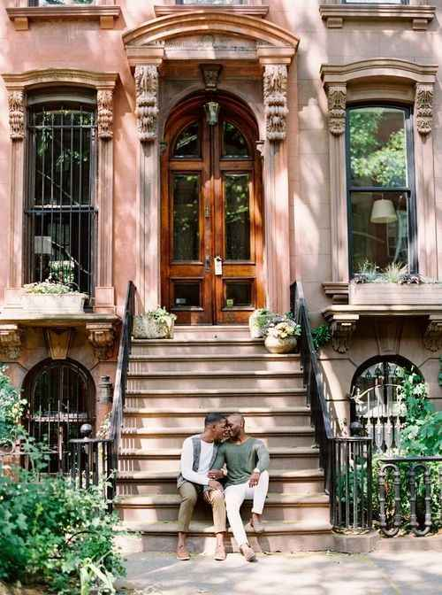 Casual City Stoop Engagement Session