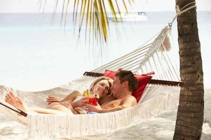Honeymooning Bride and Groom in Beach Hammock