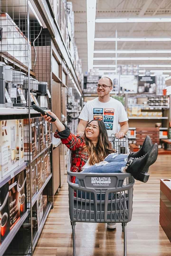 Wedding Registry - Shopping in Store, Bride in Shopping Cart