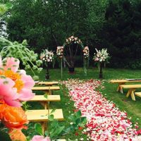 Pink, Red, and White Floral Ceremony Aisle Decor