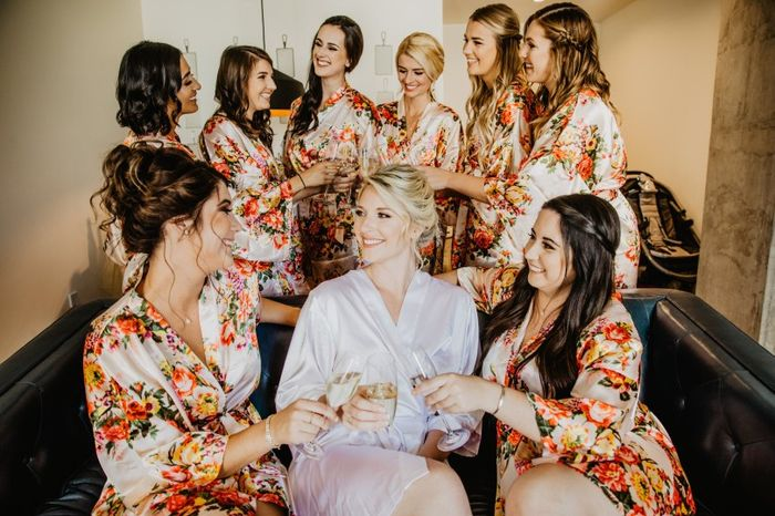 Bride Getting Ready With Bridesmaids in Robes, Toasting
